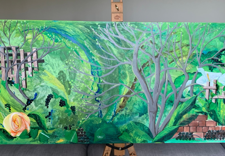 Full size photo of finished painting acrylic on large canvas 100x50 cm topic of garden and feelings during COVID19