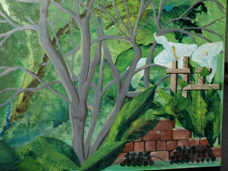 close up of calla lilies fenced in by trellis acrylic paint on canvas