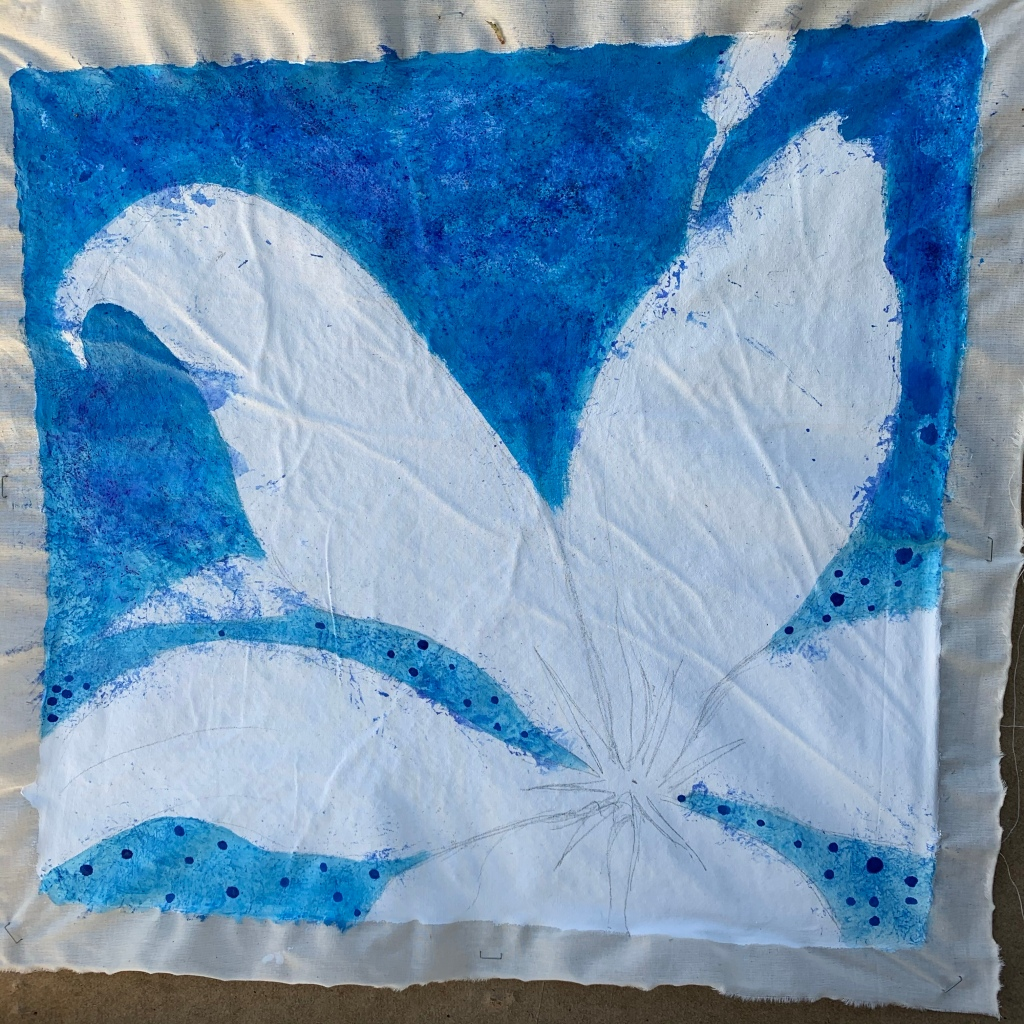 Cobalt blue summer background to lily shape